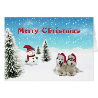 Siberian Husky Christmas Card