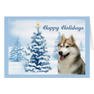Siberian Husky Christmas Card Blue Tree
