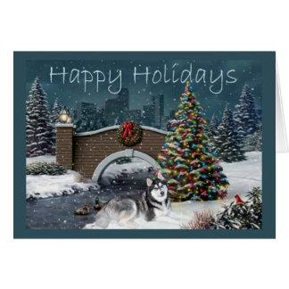 Siberian Husky Christmas Evening Card