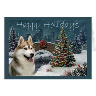Siberian Husky Christmas Evening Card