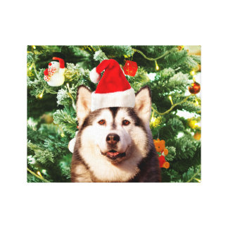 Siberian Husky Christmas Tree Ornaments Snowman Stretched Canvas Print