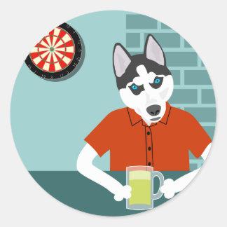 Siberian Husky Dartboard Beer Bar Round Sticker