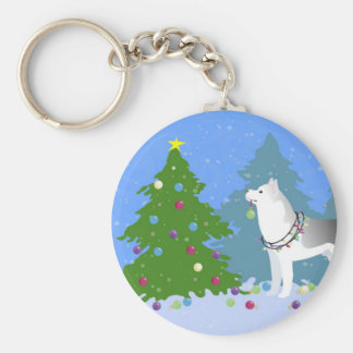 Siberian Husky Decorating Christmas Tree -Forest Basic Round Button Key Ring