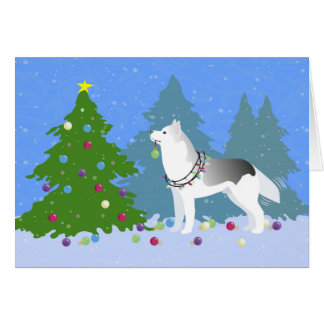Siberian Husky Decorating Christmas Tree -Forest Card