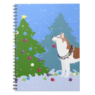 Siberian Husky Decorating Christmas Tree -Forest Notebooks
