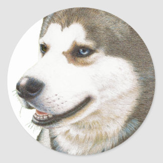 Siberian Husky Dog Art Classic Round Sticker