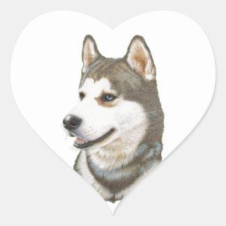 Siberian Husky Dog Art Heart Sticker