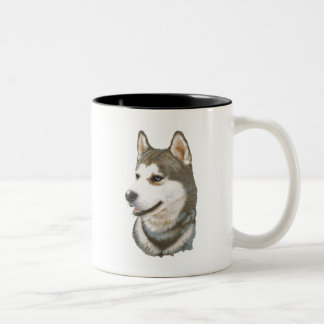 Siberian Husky Dog Art Two-Tone Coffee Mug
