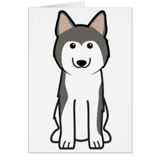 Siberian Husky Dog Cartoon Card