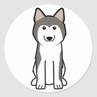 Siberian Husky Dog Cartoon Classic Round Sticker