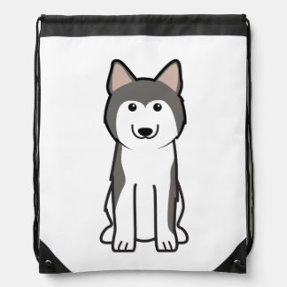 Siberian Husky Dog Cartoon Drawstring Bag