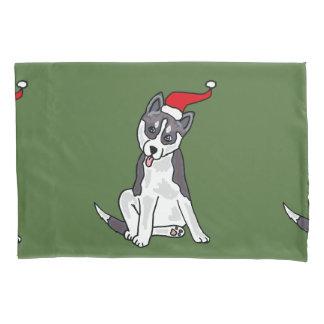 Siberian Husky Dog Christmas Art Pillowcase