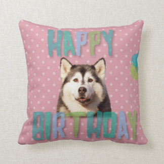 Siberian Husky Dog Happy Birthday Cushion