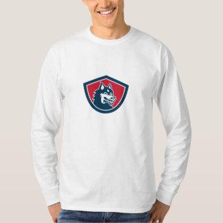 Siberian Husky Dog Head Shield Retro Tshirt