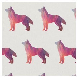 Siberian Husky Dog Silhouette Tiled Fabric