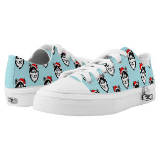 Siberian Husky Dog with Santa Hat Pattern Low Tops