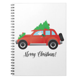 Siberian Husky Driving Christmas Car Spiral Notebook