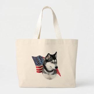 Siberian Husky Flag Large Tote Bag