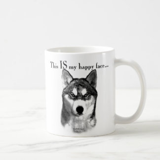 Siberian Husky Happy Face Coffee Mug