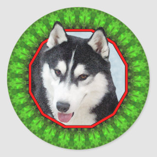 Siberian Husky Happy Howliday Classic Round Sticker