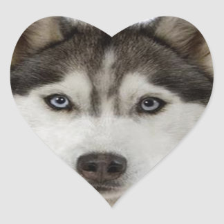 """Siberian Husky"" Heart Sticker"