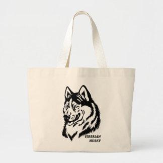 siberian husky large tote bag