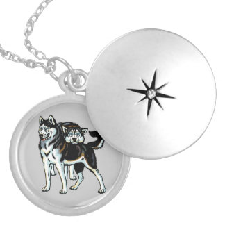 siberian husky locket necklace