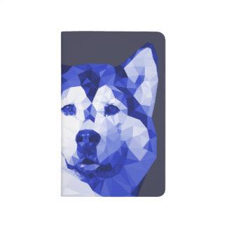 Siberian Husky Low Poly Art in Blue Journals