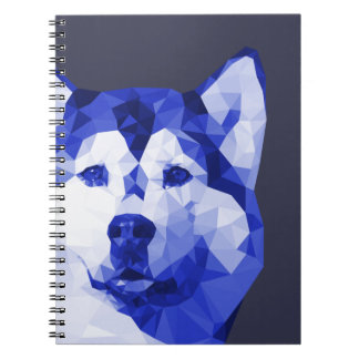 Siberian Husky Low Poly Art in Blue Note Book