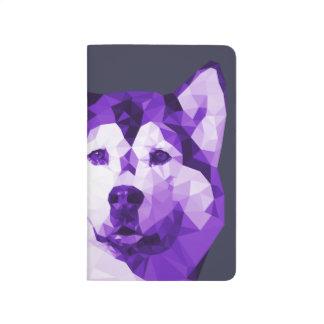 Siberian Husky Low Poly Art in Purple Journal