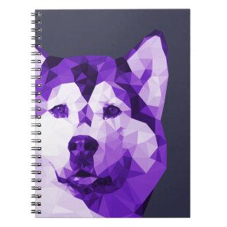 Siberian Husky Low Poly Art in Purple Notebook