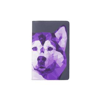 Siberian Husky Low Poly Art in Purple Pocket Moleskine Notebook