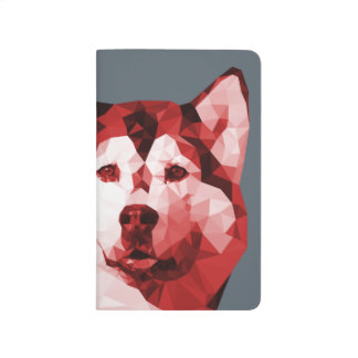 Siberian Husky Low Poly Art in Red Journals