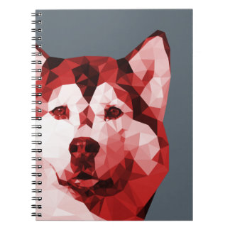 Siberian Husky Low Poly Art in Red Note Books