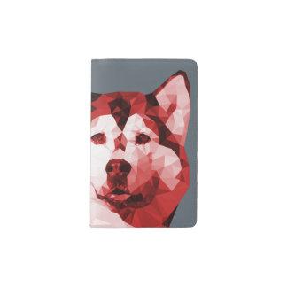 Siberian Husky Low Poly Art in Red Pocket Moleskine Notebook