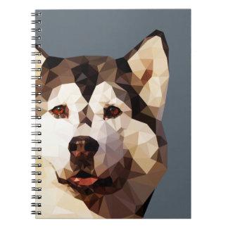 Siberian Husky Low Poly Art Note Book