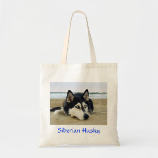 Siberian Husky on the Beach Budget Tote Bag