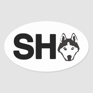Siberian Husky Oval Sticker