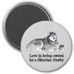 Siberian Husky & Puppies Magnet