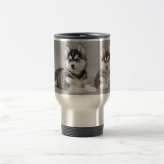Siberian husky puppies travel mug