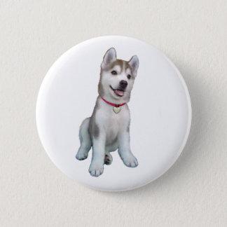 Siberian Husky Puppy 6 Cm Round Badge