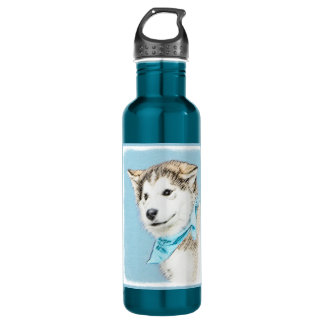 Siberian Husky Puppy Painting - Original Dog Art 710 Ml Water Bottle
