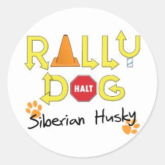 Siberian Husky Rally Dog Round Sticker