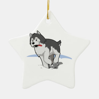 Siberian Husky Running in the Snow with Tongue Out Christmas Ornament