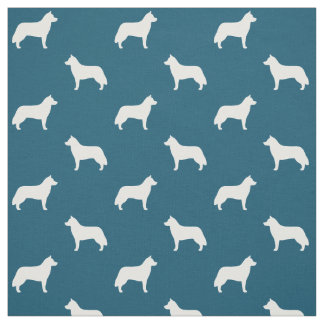 Siberian Husky Silhouettes Pattern Fabric