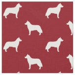 Siberian Husky Silhouettes Pattern Red Fabric