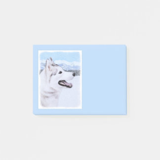 Siberian Husky (Silver and White) Painting Dog Art Post-it Notes