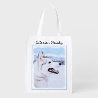 Siberian Husky (Silver and White) Reusable Grocery Bag