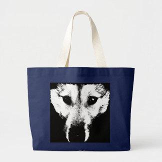 Siberian Husky Tote Bag Husky Wolf Beach Bags
