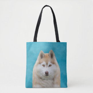 Siberian Husky Water Color Art Portrait Tote Bag